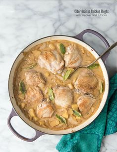Cider-braised Chicken Thighs with Apples and Onions - BoulderLocavore.com