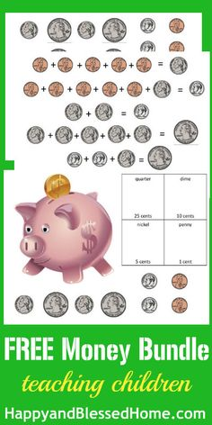 FREE Printables to Teach Children how to Count Money from HappyandBlessedHome.com