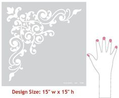 Decorate and stencil an entire ceiling in your dining room, living room, or entry way with the Avignon Corner Ceiling Stencils. Take advantage of your room's fi