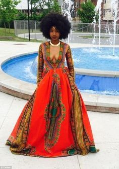 Bullied teen Kyemah McEntyre designs African-inspired prom dress and wins Prom Queen African Attire, African Wear, African Women, African Dress, African Style, African Crown, African Beauty, African Inspired Fashion, African Print Fashion