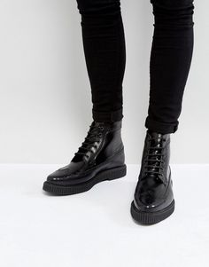 ASOS Brogue Boots In Black Leather With Creeper Sole - Black