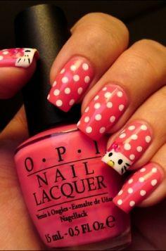 Polka Dotted Hello Kitty Nails hello kitti, polka dots, hands, dot hello, nail art designs, kitti nail, nail arts, hellokitti, hello kitty nails