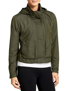 Military Jacket - Military-inspired but so much cooler, this wind-resistant jacket features a stowable hood, a jersey lining and a great sheen.