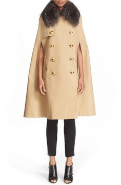 Burberry Prorsum Cotton Trench Cape with Removable Genuine Fox Fur Collar…