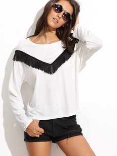0850d0d77123 T-shirt manche longue avec franges - blanc -French SheIn(Sheinside) Long ·  Long Sleeve Tee ShirtsShirt ...