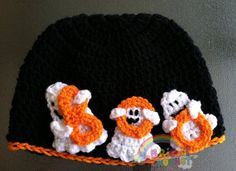 Crocheted Halloween hat | Ghost Boo Baby Halloween Crochet Hat Beanie by BrightCrochet