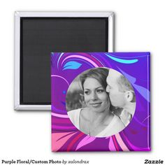 Purple Floral/Custom Photo 2 Inch Square Magnet $18 #stockingstuffer #customphoto #portrait