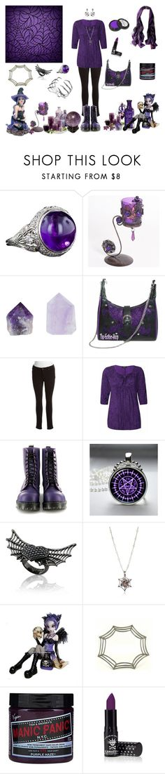"""A Little Touch of Purple"" by merlettigotici ❤ liked on Polyvore featuring Once Upon a Time, Jessica Simpson, Vegetarian Shoes, Sebastian Professional, Sheeva, Borgioni, Stephen Webster, Disaya, Capelli New York and Manic Panic NYC"