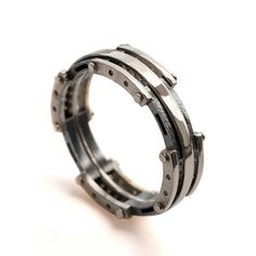 Gold Wedding Band, Men's 18K White Gold and Oxidized Silver Wedding band, steampunk, Wedding ring, black and gold ring on Etsy, $780.00