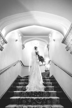 Bride walking up stairs at Highlands Ranch Mansion. Photographed by JMGant… Highlands Ranch Mansion, Walking Up Stairs, Brides, Colorado, Black And White, Places, Photography, Wedding, Valentines Day Weddings