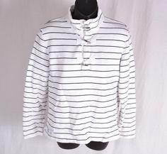 Ralph Lauren Womens M Long Sleeved Shirt Nautical Silver M Sweat Shirt Sweater #RalphLauren #PoloShirt #Casual
