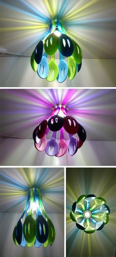 Lámpara con espátulas de colores             ♪ ♪    ... #inspiration_diy GB