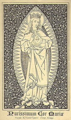 Neo-Gothic devotional image from Belgium depicting the sacred heart of Mary.