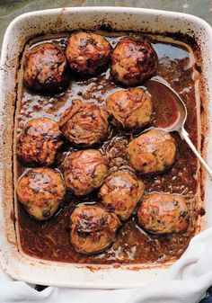 Faggots and Peasepudding, a traditional British dish, the faggots are made of pork and various types of offal, really delicious with a rich onion gravy. Peasepudding is made from yellow split peas which are mashed. I remember my Mum sending me to the butchers at the top of our road with a large basin and cloth, the butcher would fill it with the Faggots and steaming peasepudding for our Saturday supper.I used to worry I would drop it as it was so hot, I was seven at the time ah the memories!