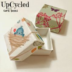 Make these card boxes out of upcycled greeting cards. Great for gift giving, jewelry boxes, or even tooth fairy boxes! Loads of possibilities!