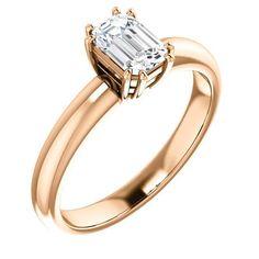 0.75 Ct Emerald Ring 14k Rose Gold