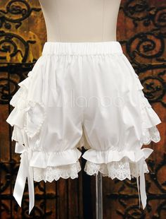 White Ruffled Cute Lolita Trousers $23.99 AT vintagedancer.com