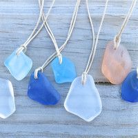 Cobalt Blue Sea Glass  Beach  Necklace Surfer