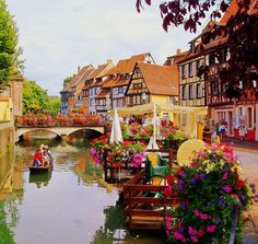 Colmar, France. Considered one of the most beautiful and fairytale-esque towns in Europe. Looks like the perfect vacation or honeymoon site.