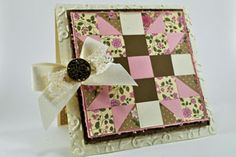 "I have been making a ton of these quilted cards, now that I have a 3/4"" punch and square envelopes."