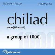 Chiliad - noun [kil-ee-ad] a group of Unusual Words, Weird Words, Rare Words, Unique Words, Cool Words, Interesting English Words, Fancy Words, Big Words, Words To Use