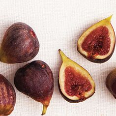 """""""Guide to Figs: Fresh figs have it all—stunning, sticky flesh rife with seeds and heavy with syrupy, sweet juice. This sublime fruit needs little embellishment."""" -- Info about season, choosing, storing, and growing figs. food"""