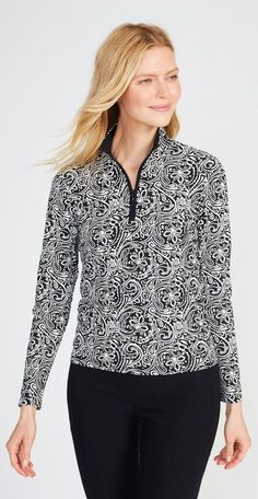 J.Mclaughlin Bedford Top in Two Tone English Paisley