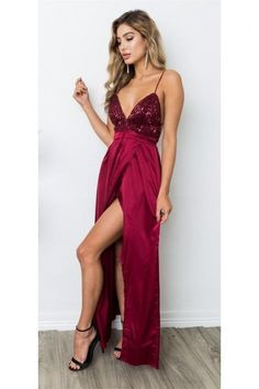 f35639359e64 Sexy V Neck Formal Evening Gown Burgundy Slit Long Party Dress With  Sequined Bodice