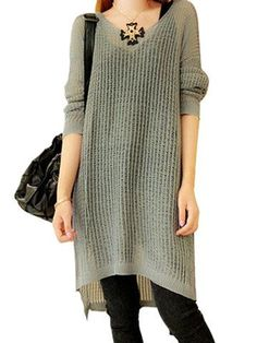 Trendy Solid Color Hollow Acrylic Long Sleeve Jumper Mini Loose Dress - NewChic