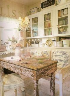 Interior and Decor , Remodel Your Kitchen with Shabby Chic Kitchen Ideas : Shabby Chic Kitchen Ideas With Mini Chandelier And Vintage Island And Chair With Flower Vase