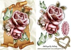 PINK ROSES AND BUTTERFLIES ON A SCROLL on Craftsuprint - Add To Basket!