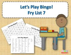 Fry List 7 - Words 601 to 700 40 Bingo Cards with Free Space 25 playing spaces per cards Call list of the 100 words randomized Print on card stock and laminate for multiple uses Print on regular paper for one-time use