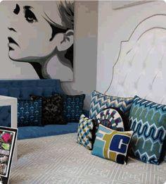 Twiggy art. Pillow love. Colors.
