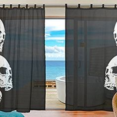 INGBAGS Bedroom Decor Living Room Decorations Skull Pattern Print Tulle Polyester Door Window Gauze / Sheer Curtain Drape Two Panels Set 55x78 inch ,Set of 2