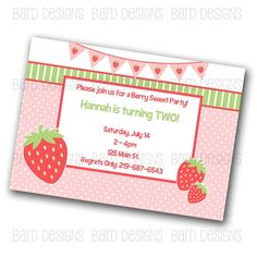 Sweet Strawberry Custom Digital Birthday Invitation by BardDesigns, $8.50
