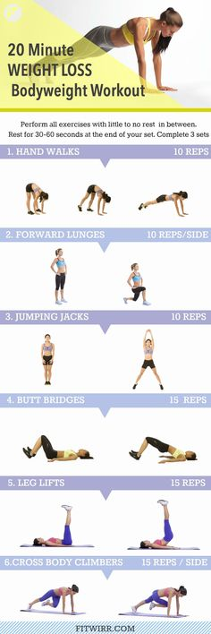 The best 20 minute bodyweight workout for weight loss for women. #weightloss #workout