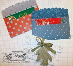 instructions on how to modify our darling Stampin' Up! Scalloped Envelope Die (cut out with the Big Shot) to hold a GIFT CARD...