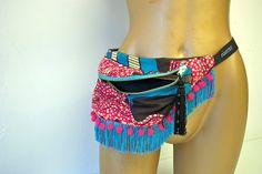 Pompom tassel african cotton bumbag or fanny by beksiesboutique
