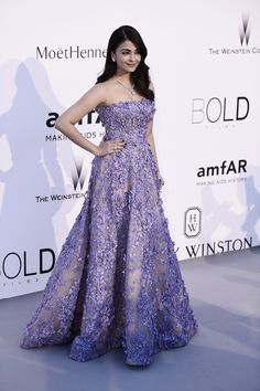 Aishwarya Rai is stunning in a purple gown embroidered with lilacs. How spring appropriate!