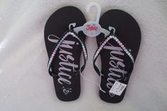1e7a6a24d5b5 Justice Girl Flip Flop Summer Sandals Size 8 9 Black Silver Color Glitter  New