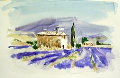 Watercolor in Provence Landscape Sketch, Watercolor Landscape Paintings, Landscape Art, Easy Watercolor, Watercolor Print, Watercolour Painting, Watercolors, Guache, Urban Sketching