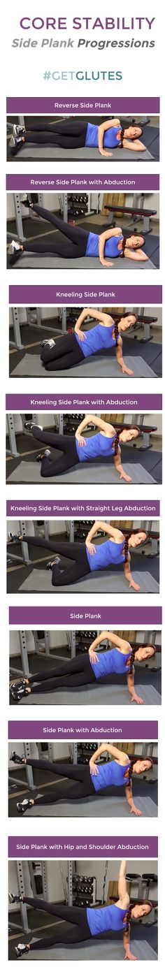 Core Stability: Side Plank Progressions - Kellie Davis Online Fitness and Nutrition Programs Static Stretching, Core Stability, Tight Hip Flexors, Psoas Muscle, Side Plank, Tight Hips, Fitness Design, Glutes, Core Workouts