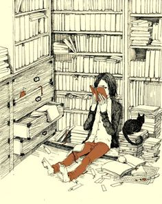 A reader lost in the stacks with her cat  by  渡