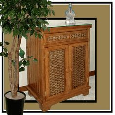Cottage Wicker Storage Cabinet via @wickerparadise #storage #wicker #brown www.wickerparadise.com