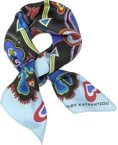 Mary Katrantzou Heart Flames Twill Silk Square Scarf