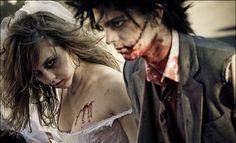 blood, bride and groom, couple, makeup, zombie, zombie lovehttp://favim.com/image/4163/