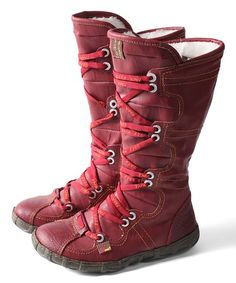TMA EYES Red Snake-Embossed Leather Tall Boot - Women | Best Price and Reviews | Zulily