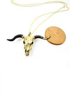 Taurus Skull's Bull Pendant in Brass | Guruwan.com