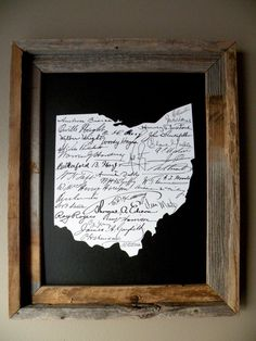 Signatures of Ohio History Map Print (Black) by fortheloveofmaps on Etsy https://www.etsy.com/listing/168522716/signatures-of-ohio-history-map-print