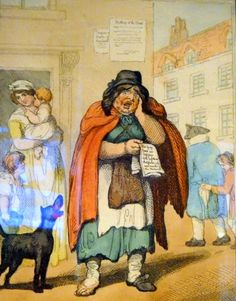 Cries of London by Thomas Rowlandson is a series of paintings which show the large number of street merchants who made their daily living by selling their wares on London streets.  Via Museum of London © Suzi Love